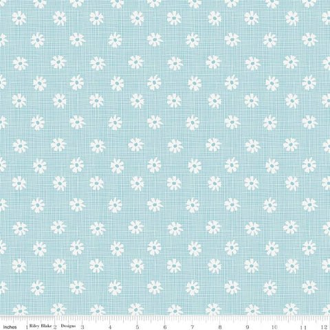 Riley Blake Petals & Pots C8974 Blue Button Flower Plaid By The Yard