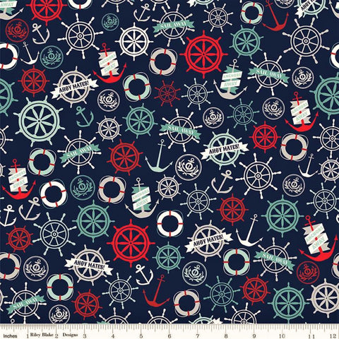 Riley Blake Deep Blue Sea C9032 Navy Anchors By The Yard
