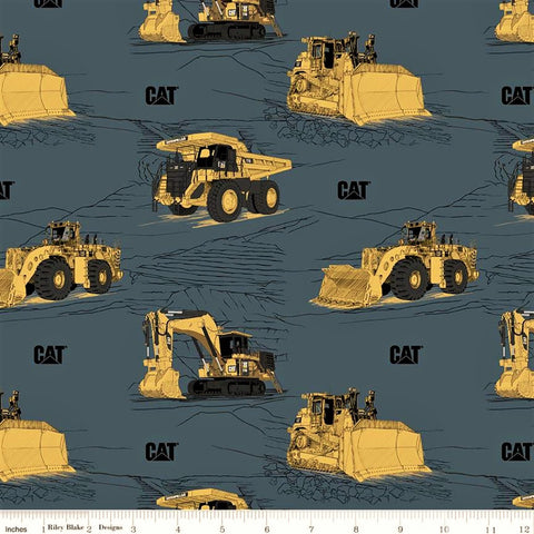 Riley Blake CAT C9100 Blue CAT Equipment By The Yard
