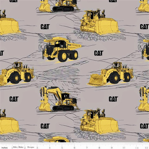 Riley Blake CAT C9100 Gray CAT Equipment By The Yard