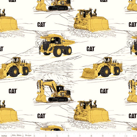 Riley Blake CAT C9100 White CAT Equipment By The Yard