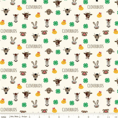 Riley Blake 4-H C9122 Cream Cloverbuds By The Yard