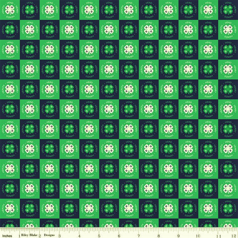 Riley Blake 4-H C9123 Blue Clover Blocks By The Yard