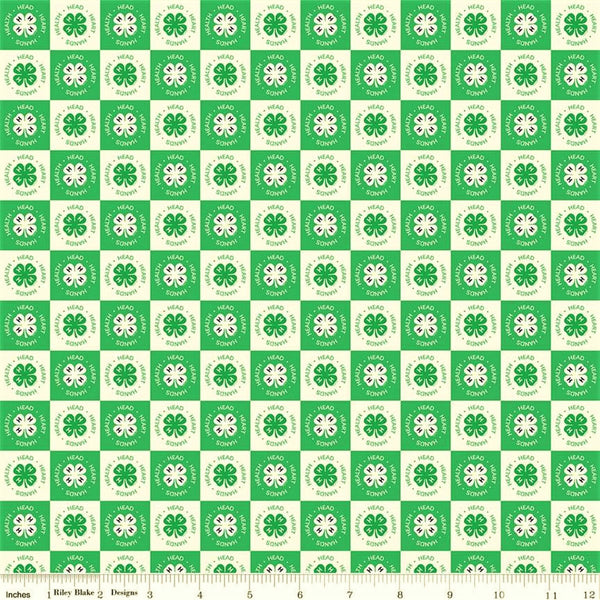Riley Blake 4-H C9123 Cream Clover Blocks By The Yard