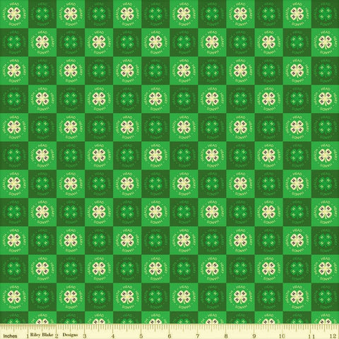 Riley Blake 4-H C9123 Green Clover Blocks By The Yard