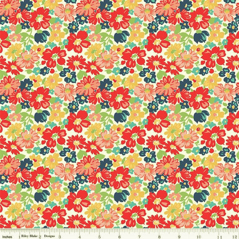 Riley Blake Vintage Happy 2 C9130 Red Vintage Floral By The Yard