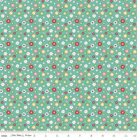 Riley Blake Vintage Happy 2 C9136 Sea Glass Blossom By The Yard
