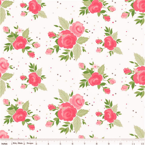 Riley Blake Winifred Rose C9220 White Showering Roses By The Yard