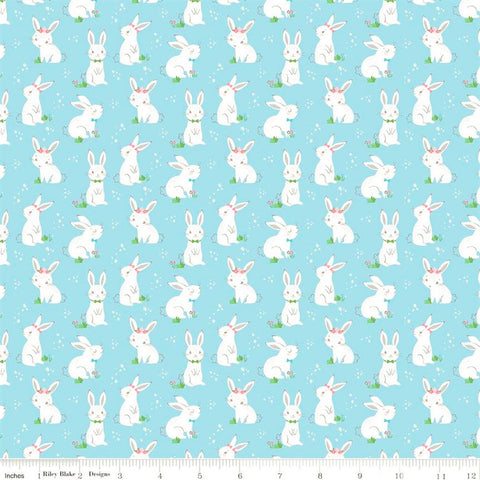 Riley Blake Winifred Rose C9222 Aqua Bow Bunnies By The Yard