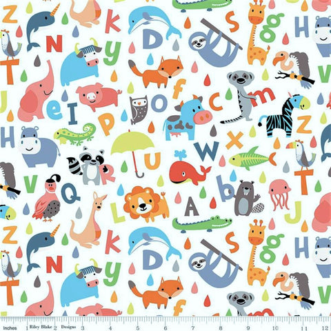 Riley Blake Noah's Ark C9381 White ABC By The Yard