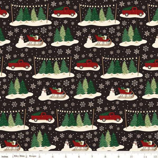 Riley Blake Christmas Traditions C9590 Black Traditions By The Yard
