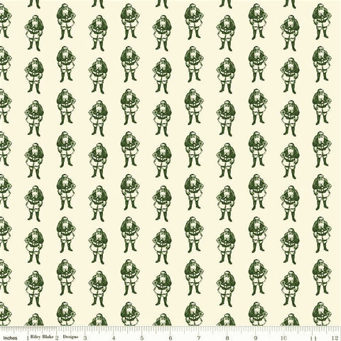 Riley Blake Yuletide C9636 Green/Cream Santas By The Yard