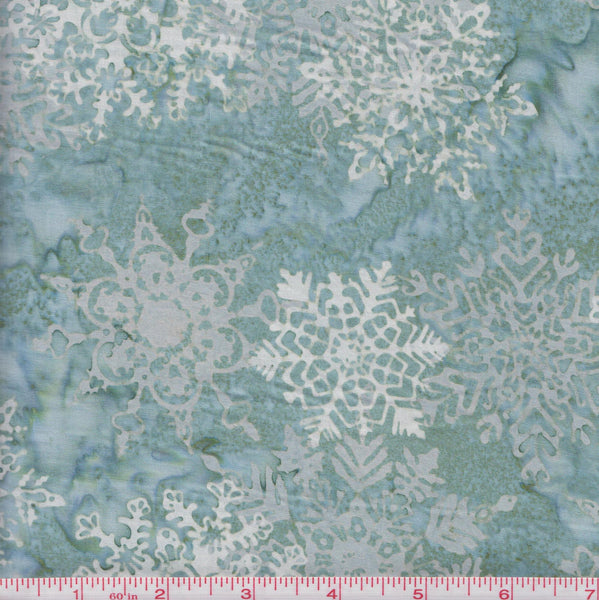 Hoffman Bali Batiks COU 2013 Snowflakes on Green by the yard