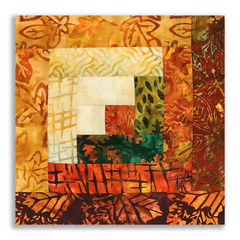 Robert Kaufman Batik PRE-CUT 12 Block Log Cabin Quilt Kit - Cornucopia 3