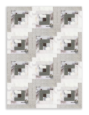 Kaufman PRE-CUT 12 Block Log Cabin Quilt Kit - Winter Shimmer 2