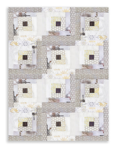 Kaufman PRE-CUT 12 Block Log Cabin Quilt Kit - Winter Shimmer