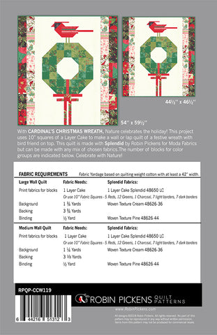 Robin Pickens Quilt Pattern  - CARDINAL'S CHRISTMAS WREATH