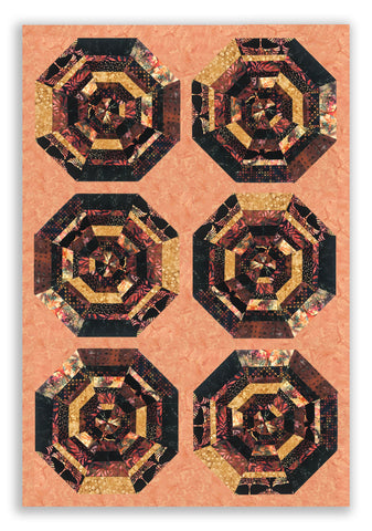 Bali Batik PRE - CUT 6 Block Carousel Kit - Pomegranate