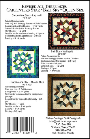 CARPENTER'S STAR REVISED - Calico Carriage Quilt Designs Pattern CCQD150