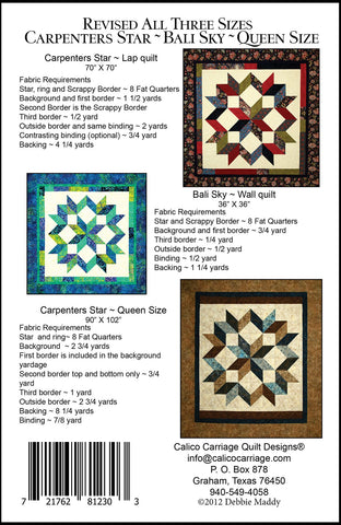 CARPENTER'S STAR REVISED - Calico Carriage Quilt Designs Pattern CCQD150 DIGITAL DOWNLOAD