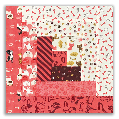 Moda Fabrics Cat and Dog Pre-Cut 12 Block Log Cabin Quilt Kit - Woof Woof Meow