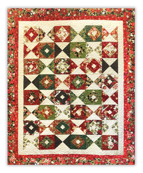 "Holiday Flourish Christmas Color Crystals 74 x 92"" Fully Finished Sample Quilt"