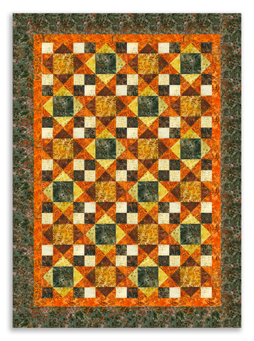 Kaufman Batiks Pre-Cut 12 Block King's Crown Quilt Kit - Cornucopia