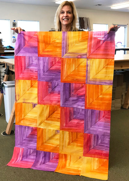 Cutting Corners Pre-Cut Quilt Kit - Rainfall Ombre Batik - Summer Sunset