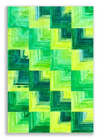 Cutting Corners Pre-Cut Quilt Kit - Rainfall Ombre Batik - Green