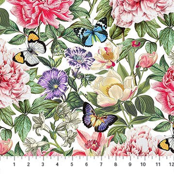 Northcott Botanica DP23285 10 White/Multi La Botanica By The Yard