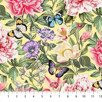 Northcott Botanica DP23285 52 Yellow/Multi La Botanica By The Yard