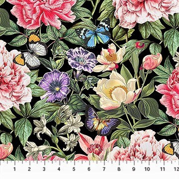 Northcott Botanica DP23285 99 Black/Multi La Botanica By The Yard