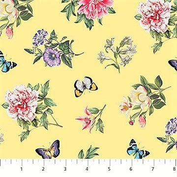 Northcott Botanica DP23286 52 Yellow/Multi Floral Toss By The Yard