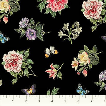 Northcott Botanica DP23286 99 Black/Multi Floral Toss By The Yard