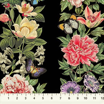 Northcott Botanica DP23287 99 Black/Multi Floral Stripe By The Yard