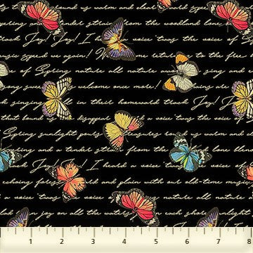 Northcott Botanica DP23288 99 Black/Multi Butterfly Script By The Yard