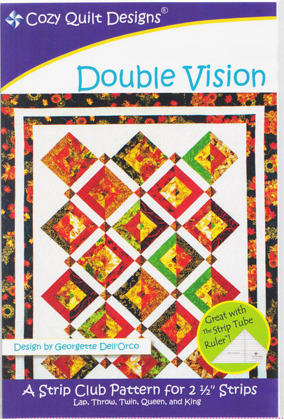 "Cozy Quilt Designs Double Vision A Strip Club Pattern For 2 1/2"" Strips"