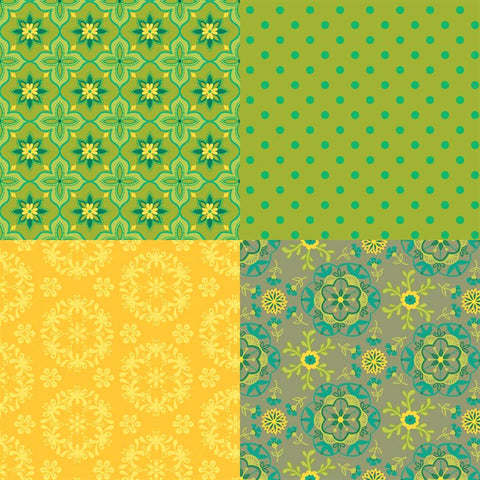 Riley Blake Wildflower Boutique FQP8836 Green Boutique 1 Yard PANEL By The PANEL (not strictly by the yard)
