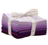 Moda Pre-cut 12 Fat Quarter Bundle AB128 - Pattern Included - Bella Solids Purples