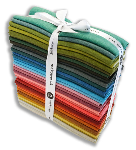 Andover & Laundry Basket Quilt Pre-Cuts 36 Piece Fat Eighths Bundle - Favorite Linen Texture Collection
