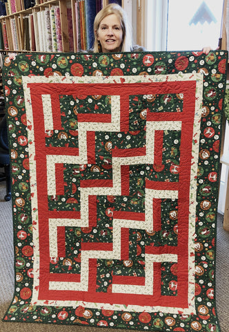 "Festive Fun Rail Fence 46 x 62"" Fully Finished Metallic Rail Fence Sample Quilt"