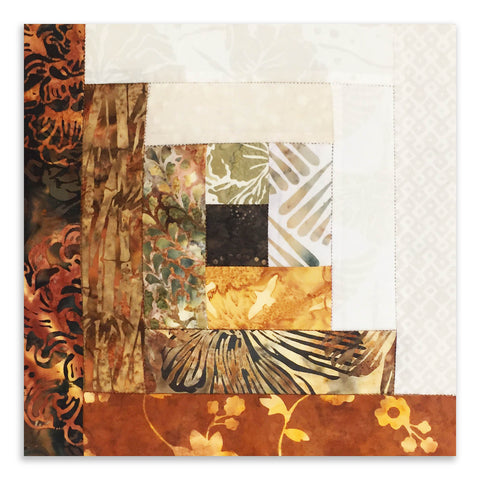 Hoffman Bali Batik Pre-Cut 12 Block Log Cabin Quilt Kit - Fields of Barley