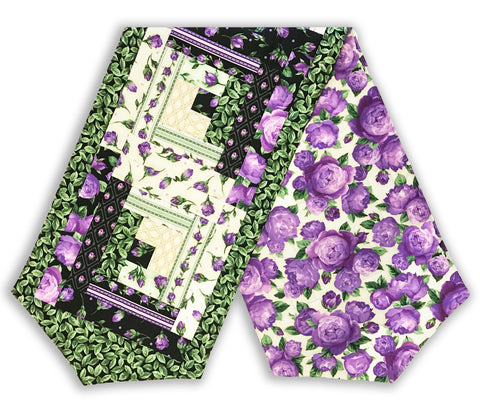 Robert Kaufman Purple Flowers PRE-CUT Log Cabin Table Runner Kit - Florentina Rose