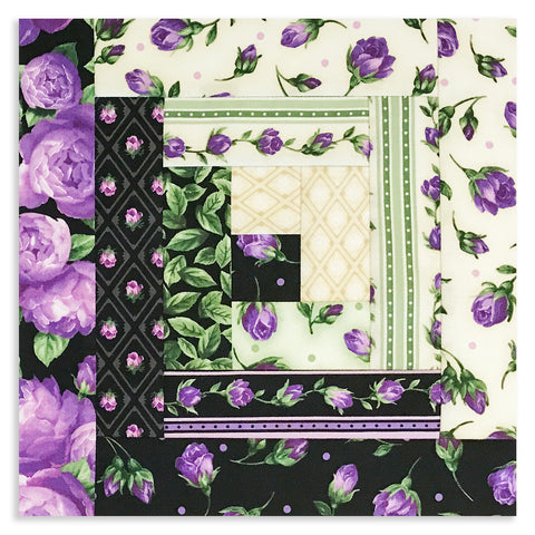 Kaufman Purple Flowers PRE-CUT 12 Block Log Cabin Quilt Kit - Florentina Rose