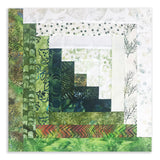 Hoffman Bali Batiks JUMBO 12 Block Log Cabin Quilt Kit - Forest Fern