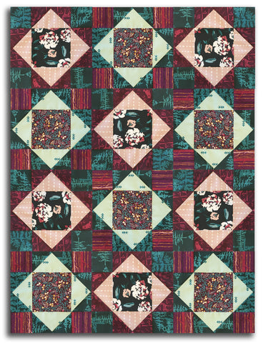 Art Gallery Fabrics Pre-Cut 12 Block King's Crown Quilt Kit - Fusion Foresta