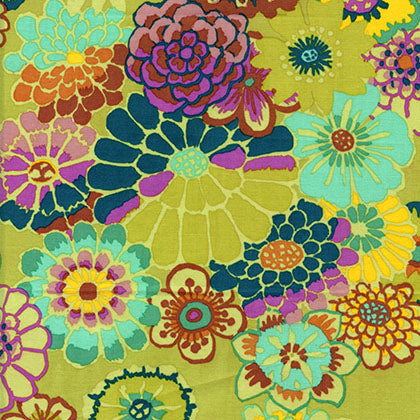Free Spirit Kaffe Fassett GP89 Chartreuse Asian Circles By The Yard