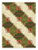 Moda Metallic Christmas PRE-CUT 12 Block Log Cabin Quilt Kit - Gilded Greenery