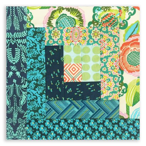 Free Spirit Amy Butler Pre-cut 12 Block Log Cabin Quilt Kit - Glow
