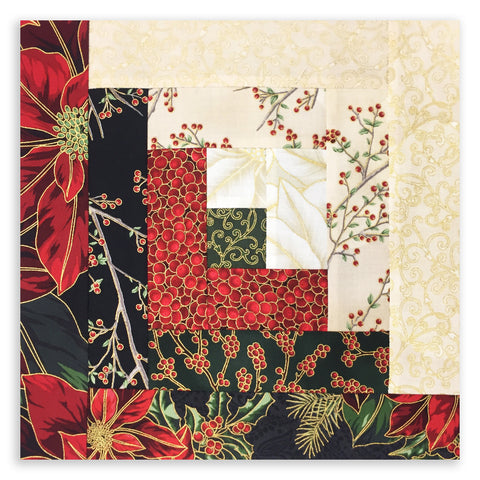 Hoffman Christmas Metallic Pre-Cut 12 Block Log Cabin Quilt Kit - Good Tidings
